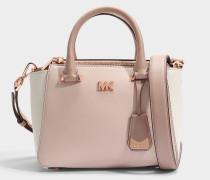 Nolita Mini Messenger Tasche aus rosanem und weißem Leder