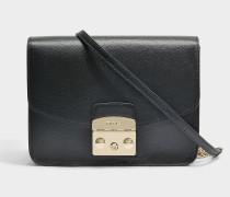 Kleine Handtasche Metropolis aus schwarzem Kalbsleder