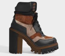 Trekking Stiefel mit Absatz aus schwarzem und braunem Leder