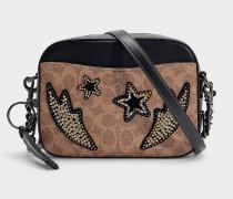 Camera Bag aus braunem und schwarzem Stoff