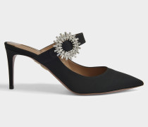 Crystal Blossom 75 Mule Schuhe aus schwarzem gewebtem Material Kalbsleder und RhineSchmucksteinen