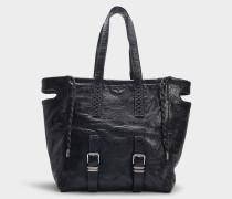 Shopper Bianca XL aus schwarzem Kalbsleder