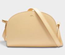 Demi Lune Tasche aus beige glattem Leder