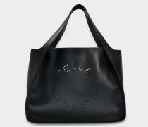 Alter Nappaleder Tote Stella Logo Tasche aus schwarzem Öko Leder
