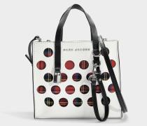 Handtasche The Mini Grind Perforated Tartan aus weißem Kalbsleder