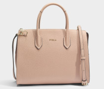 Pin Medium Satchel Tasche aus Moonstone Kalbsleder