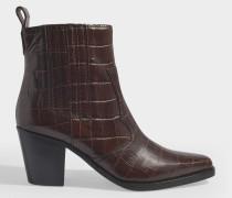 Cowboy Boots in kroko-geprägtem Kalbsleder