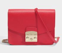 Metropolis small Crossbody Tasche aus rubyrotem Ares Leder