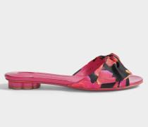 Chianni Patent und Tuch Print Schuhe aus fuchsia Lackleder