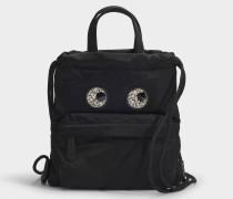Mini Drawstring Crystal Eyes Rucksack aus schwarzem Nylon