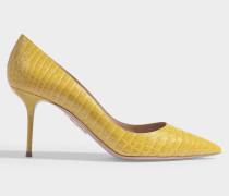 Escarpins Purist 75 in gelbem kroko-geprägtem Leder