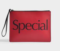 Clutch Special aus rotem und schwarzem Kalbsleder