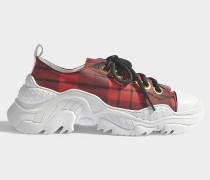 Sneaker mit Tartanmuster aus Satin und Gummi in Rot