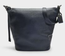 Handtasche Duffle aus genarbtem marineblauem Kalbsleder