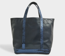 Leather and glitter medium tote