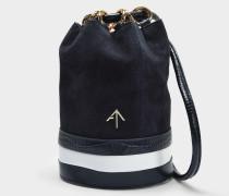 Zelda Tasche aus navyblauem und weißem Wildleder