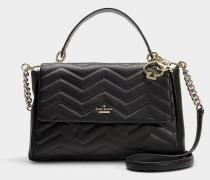 Elfenbein Reese Park Bag aus schwarzem Leder