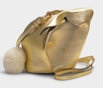 Handtasche Bunny Mini aus goldenem Kalbsleder