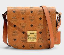Kleine Handtasche mit Taschenklappe Patricia Visetos aus cognacfarbenem PVC