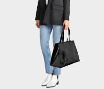Horizontal Tote Bag aus schwarzem Patent PVC