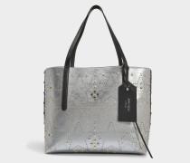 EW Shopper Tasche aus Vintage silber Mix Optik Nappaleder