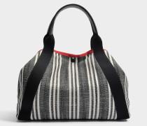 Simple rotem Transat Rayé Tasche aus schwarzem Canvas