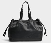 Simple 2 Bis Tote Bag aus schwarzem Leder
