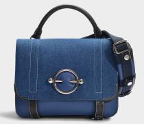 Handtasche Disc Satchel aus marineblauem Stoff