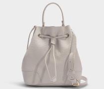 Kleine Handtasche Stacy mit Zugband aus beigem Kalbsleder