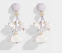 Fallausg Flower Clip Ohrringe aus weißer Synthetik