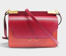 Trunk micro Tricolor Tasche aus Cherry rotem, Tile und Saffiano Kalbsleder