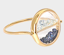 Yellow Gold and sapphire glass chivor ring with Blue Sapphires