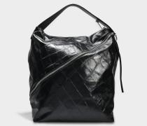 Zip Large Hobo Tasche aus schwarzem geprägtem Giant Croc Leder
