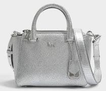 Nolita Mini Messenger Tasche aus silbernem metalloptischem Leder