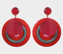 Plexi Ohrringe aus rotem Acetat