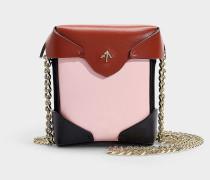 Micro Handtasche Pristine Combo mit Kettenriemen aus Samt Schwarz, Rosa und Rot