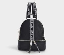 Rucksack Rhea Reißverschluss Medium aus schwarz-weißem, genarbtem Kalbsleder