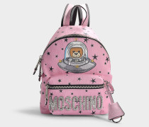 Rucksack Teddy in the Space aus Synthetikmaterial Rosa