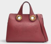Kleine Handtasche Grommet mit Metallnieten aus lila Kalbsledert