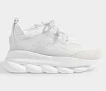 Sneaker Sports Oversized Chain aus weißem Stoff