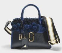 Perlen und Poms Little Big Shot Tasche aus schwarzem Multi Split Kuhleder