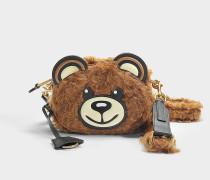Schultertasche Teddy Bear aus Shearling in Braun
