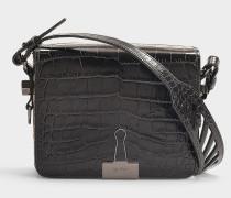 Handtasche mit Taschenklappe Cocco aus schwarzem Kalbsleder