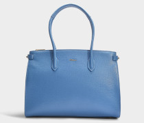 Shopper Pin East/West Medium aus Kalbsleder Saffiano in Blau