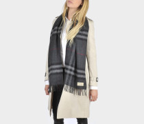 Giant Icon Scarf in Charcoal Check Cashmere
