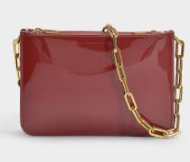 Handtasche mit Schulterriemen mit dreifachem Reißverschluss aus lila Kalbsledert