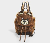 Rucksack Teddy aus Shearling in Braun