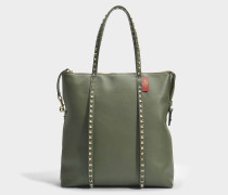 Rockstud Zipped Tote Bag aus Oasis Khaki Kalbsleder