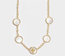 Halskette mit Halbedelsteinen aus altgoldenem Metall und Perlen