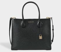 Mercer Large Convertible Tote Bag aus schwarzem Pebbled Leder
